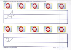 Satz Pictogramm und Buchstabe für das 1. Schülerarbeitsheft VA